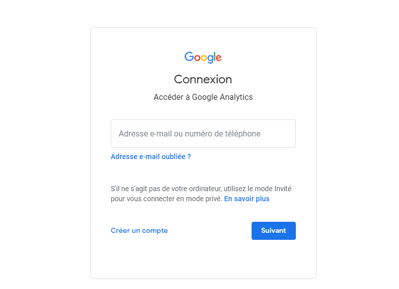 Configuration de compte google analytics