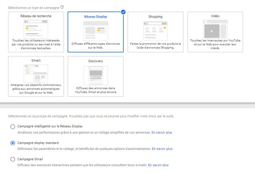 Les différents types de campagnes sur le réseau display de Google Ads